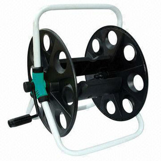 Portable hose reel, simply use lever to wind hose and out of way