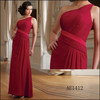 Red One Shoulder Chiffon Party Evening Dress AE1412