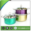 Xingzhan 6pcs Colorful Broad Brimmed Stainless Steel Cookware/Cooking Pot