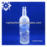750ml Frosted Decal Wine Glass Bottle For Vodka