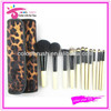 12piece Synthetic Leopard Design Makeup Brush Set with Cosmetic Brush Bag