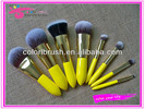 2013 the best professional 8pieces makeup brush set , synthetic kabuki kit with yellow handle