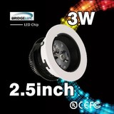 Saving power excellent bridgelux led chip 3w ceiling led downlight