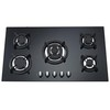 Gas Stove with Tempered Glass Panel, Enameled Pan Support