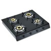 New Gas Stove with Tempered Glass Panel, Enameled Pan Support