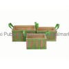 Green and Pink Rectangular Wood Chip Storage Basket