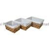 Rectangular Wood and Rattan Storage Basket with Liner
