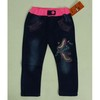 children clothes, Girl's denim jeans with pink waistband and sequins