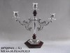 Silver plated metal Candle Holder with a wodd base