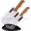 2 pcs wooden handle ceramic kitchen knife set in block