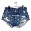 2013 Summer Rivets Diamond Burr Hole High Waist  Women Denim Shorts