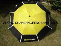 windproof promotion double layer golf umbrella with elastic ribbon