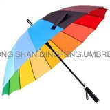 windproof rainbow Colorful Straight Umbrella