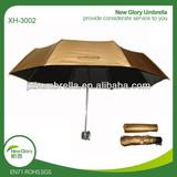 three folding uv protection sun umbrella in golden color
