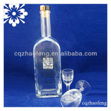 700ml Transparent Fashion Long Neck High Quality Unique Shape Decal Colored 45% Absolut Vodka Glass Bottle