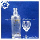 500ml High Quality Transparent Decal Vodka Wine Glass bottle With Crystal Glassware