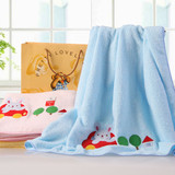 100% cotton Jacquard embroidery untwisted yarn children towelling coverlet