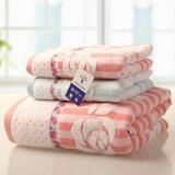3 pieces 100 % cotton towel set rose flower towel set(G1758W-tj)