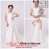 Elegant Cap Sleeve Satin Lace Wedding Dress with Self Bow (CH267)
