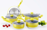 Lemon yellow cookware sets with spiral induction bottom