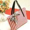 Stripe Printed Canvas Shopping Bag (MLD-G970)