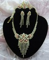 New Copper Material 4PC Rhinestone CZ Jewelry Set (Y-1)