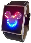 Blue R. Pink Mickey LED Watch Black Leather(EP01)