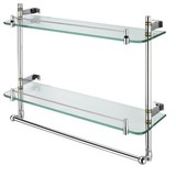 Double Layer Glass Shelf with Bar/high quality Glass Shelf/unique New