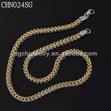 fashionable and vintage jewelry color silvery and gold stainless steel necklace CHN024SG