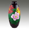 Haisen Pottery Lacquer Painting Black Pottery ceramic porcelain decorate Peony vase