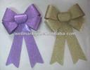 "HOT SALE ! 9"" Gold Glitter Ribbon Christmas Present Bow, Glitter Ribbon Bow"