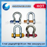 bolt type color screw pin bow shackle