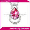 N00937 metal alloy chain classic rhinestone crystal teardrop shaped pendant necklace