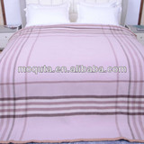2013 checked super soft overedge woven 100% wool blanket