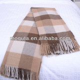 2013 checked woven super soft wool throw blanket with tassel