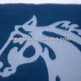 2013 horse jacquard super soft woven 100% wool overlock blanket