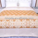 2013 camel soft woven overlock jacquard 100% wool blanket