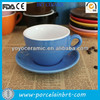 ceramic high quality bright blue cappuccino cup saucer