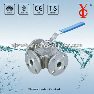 T shape three way ball valve