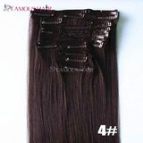 Natural color top quality virgin clip in human hair