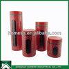 RED STAINLESS STEEL COATED GLASS CANISTER SET/AIRTIGHT GLASS JARS WHOLESALE