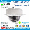 2014 most cost-effective 1.3 Meagpixe fixed lens vandal proof IR Dome Network security ip camera Hikvision