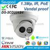 2014 New design 1.3 megapixel fixed lens vandal proof IR mini Dome network Hikvision night indoor camera
