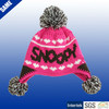Acrylic knitted kids winter earflap hats with top ball