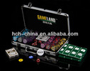 300pcs poker chip set in Silver aluminium case, round corner