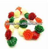 Hot Sell Resin Coral Rose Beads for Jewelry 9mm/Beautiful Rose Beads/Acrylic Rose Beads