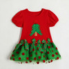 Wholesale Factory Supply Christmas Baby Girls Dress Summer Princess Dresses Red Flower Dot Print Short Sleeve Clothes