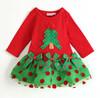 2013 New Fashion Christmas Baby Girls Dress Summer Princess Lace Dresses Flower Dot Print Long Sleeve Clothes