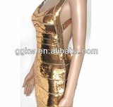 gold sexy sequin backless wholesale bandage dresses