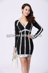 European and American retro style long sleeve office lady formal dresses